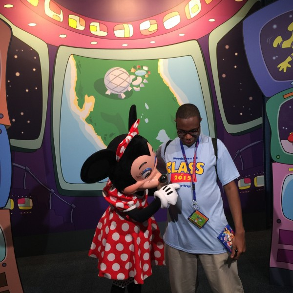 Minnie reads my Senior Trips shirt (May 28 2015)