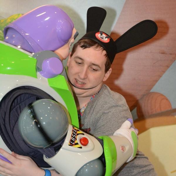Hugging Buzz Lightyear