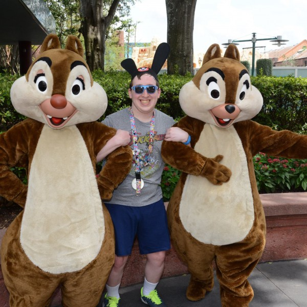 Me holding Chip and Dale's arms