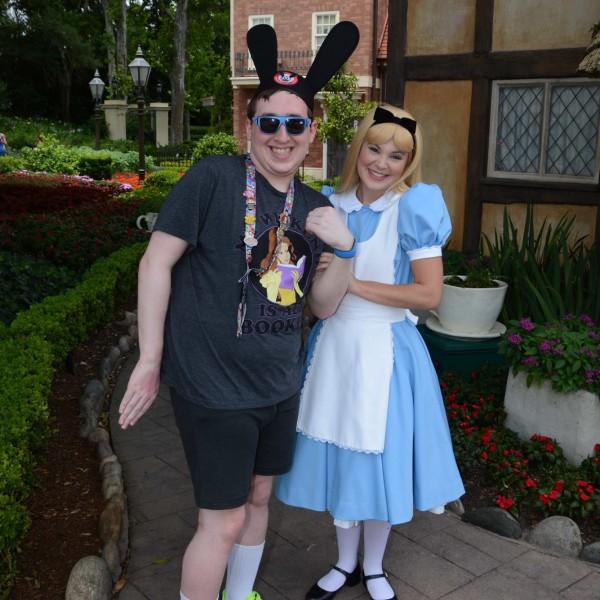 Alice is holding my arm