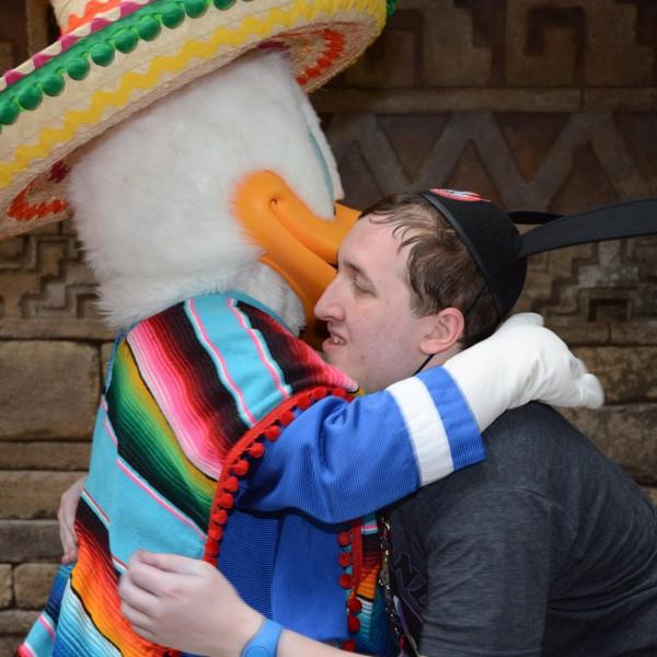 Hugging Donald Duck