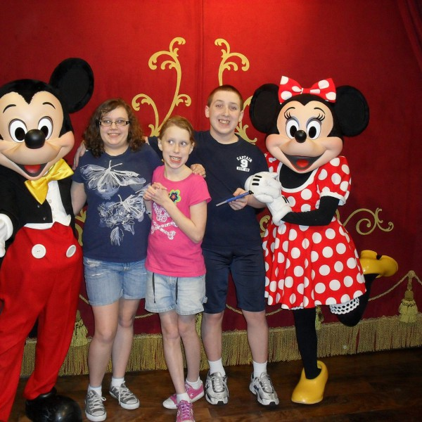 Me and my Sisters with Mickey and Minnie Mouse