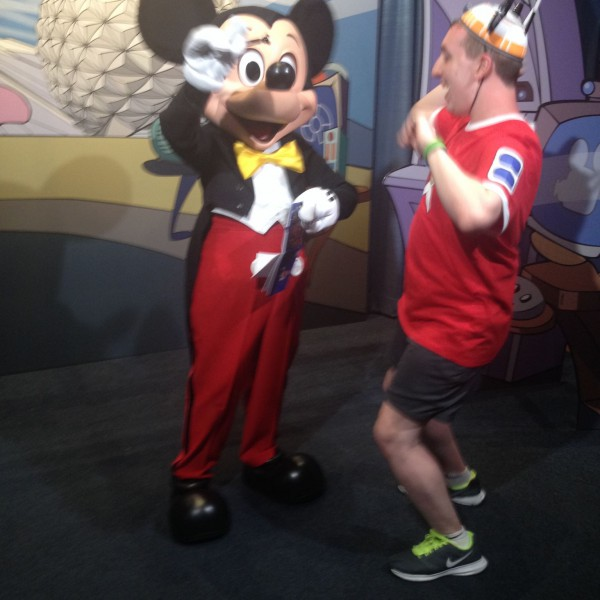 Singing the Mickey Mouse Club March with Mickey